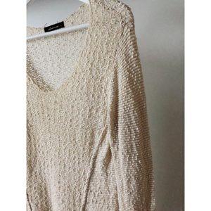 Loose Knit Cream Hi-Lo Sweater Olivaceous EUC S/M